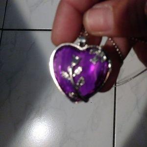 Nwot 3/$13!!!purple heart inside silvertone heart